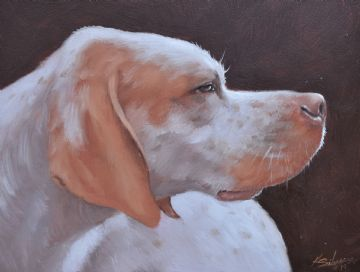 John Silver Original Oil Painting Of A Pointer Dog